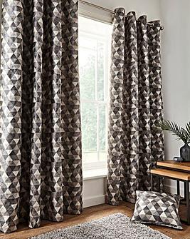 Zada Linear Geo Jacquard Eyelet Curtains