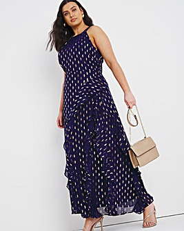Joanna Hope Gold Foil Print Ruffle Maxi Dress