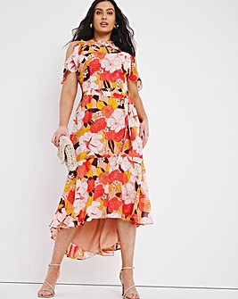 Joanna Hope Cold Shoulder Frill Dress