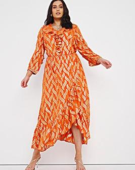 Joanna Hope Jacquard Foil Ruffle Maxi Dress