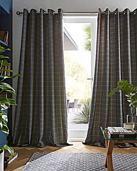 furn. Ellis Windowpane Check Eyelet Curtains