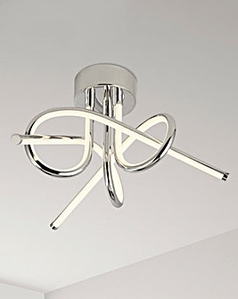 Cora Twist Chrome LED Ceiling Fitting
