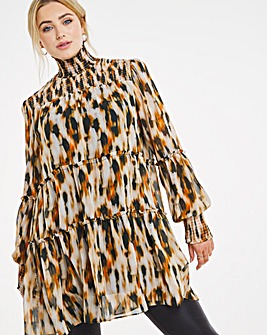 Joanna Hope Animal Print Tiered Tunic