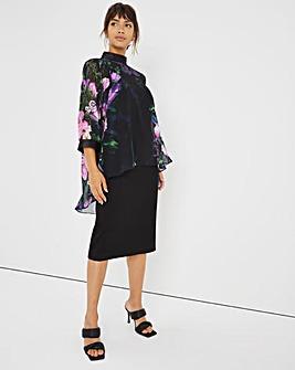 Joanna Hope Printed Overlay Scuba Dress