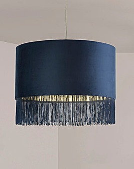 Navy Velvet Fringed Shade