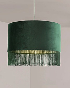 Dark Green Velvet Fringed Easy Fit Shade