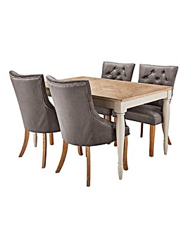 Charingworth Parquetry Oak and Oak Veneer Dining Table with 4 Isabella Chairs