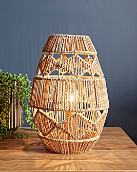 Ria Brown Rattan Table Lamp