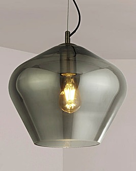 Lucia Smoked Glass & Antique Brass Pendant
