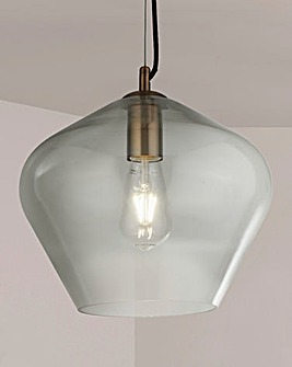 Lucia Clear Glass & Antique Brass Pendant