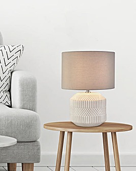 Mia White Textured Ceramic Table Lamp
