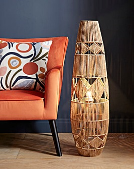 Ria Brown Rattan Floor Lamp