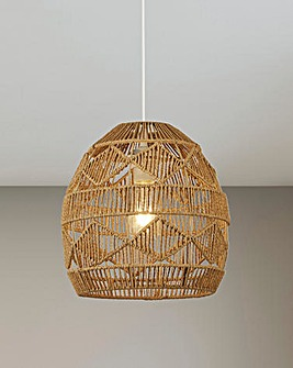 Ria Brown Rattan Easy Fit Pendant