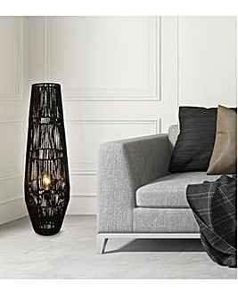 Samira Black Rattan Floor Lamp