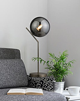 Dixon Globe Satin Silver Table Lamp