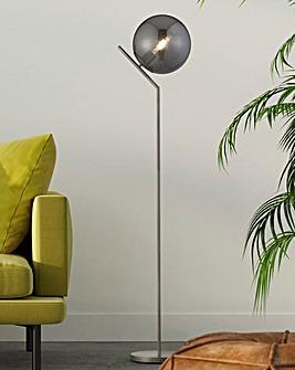 Dixon Globe Satin Silver Floor Lamp