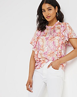 Joanna Hope Frill Shoulder Satin Blouse