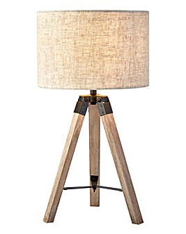 Lund Wood Tripod Table Lamp
