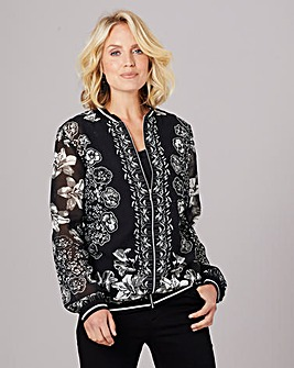 Julipa Sheer Bomber Jacket with Vest