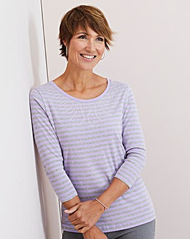 Julipa Lilac/Grey Stripe Jersey T Shirt with Studs