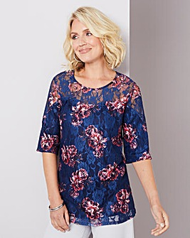 Julipa Navy Floral Print Lace Swing Top