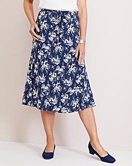 Julipa Navy Floral Print Skirt 27