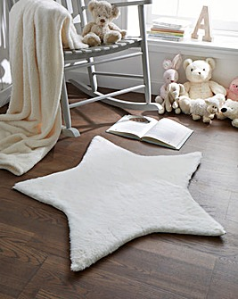 Children's Luxury Faux Fur Star Shaped Rug