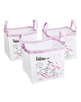 Unicorn Set of 3 3 Storage Totes