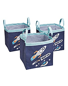 Blast Off Set of 3 Storage Totes