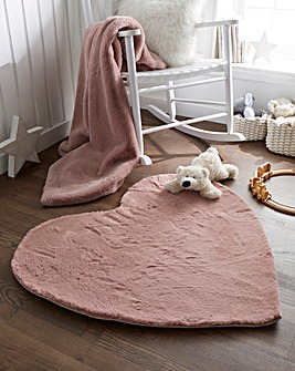 Children's Luxury Faux Fur Heart Shaped Rug