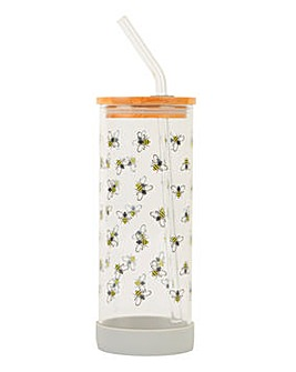 Bamboo Lid Glass Bottle Bee