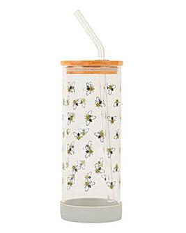 Bamboo Lid Glass Bottle Bee