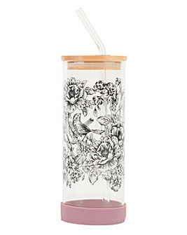 Bamboo Lid Glass Bottle Floral