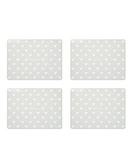 Grey Hearts Placemat & Coaster Set