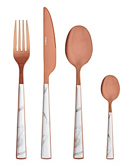 Tower Marble Rose Gold Cutlery Set