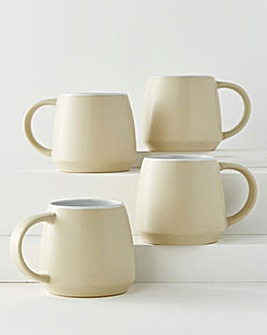 Cream Stoneware Set of 4 Mugs