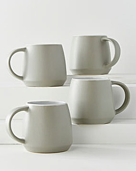 Grey Stoneware Set of 4 Mugs