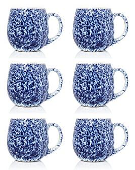 Blue Reactive Glaze Set of 6 Mugs