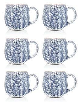 Grey Reactive Glaze Set of 6 Mugs