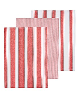3 Pack Red Woven Stripe Tea Towels