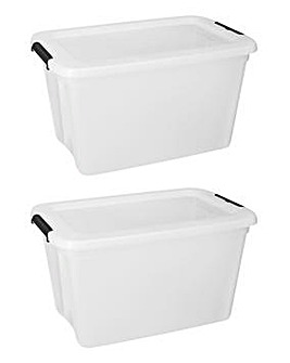 Set of 2 55L Storage Box with Lid
