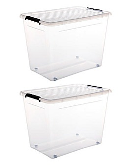 Set of 2 80L Easy Roll Wheel Storage Box