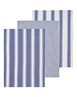 3 Pack Blue Woven Stripe Tea Towels