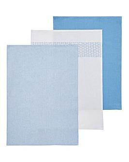 3 Pack Blue Embellished Tea Towels