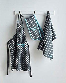 Grey Polka Dot Apron, Tea Towel Set
