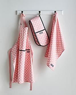 Blush Polka Dot Apron, Tea Towel Set