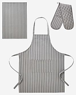 Butchers Stripe 3 Piece Set Grey