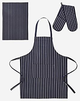 Butchers Stripe 3 Piece Set Navy