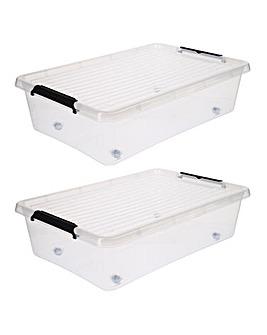 Set of 2 50L Under Bed Wheel Storage Box