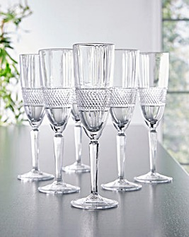 RCR Brillante Set of 6 Champagne Flutes